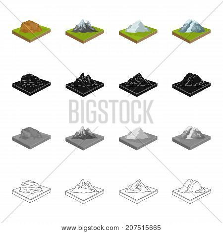 Mountain, hill, plain, and other  icon in cartoon style. Ecology, relief, mount icons in set collection