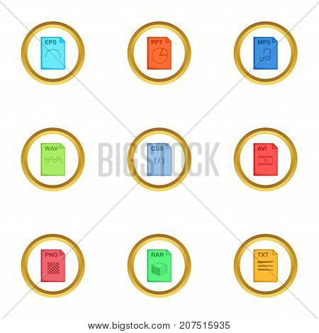Program file icons set. Cartoon style set of 9 program file vector icons for web design