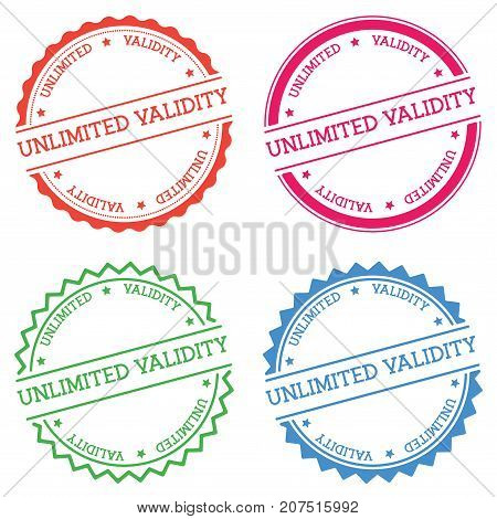 Unlimited Validity Badge Isolated On White Background. Flat Style Round Label With Text. Circular Em
