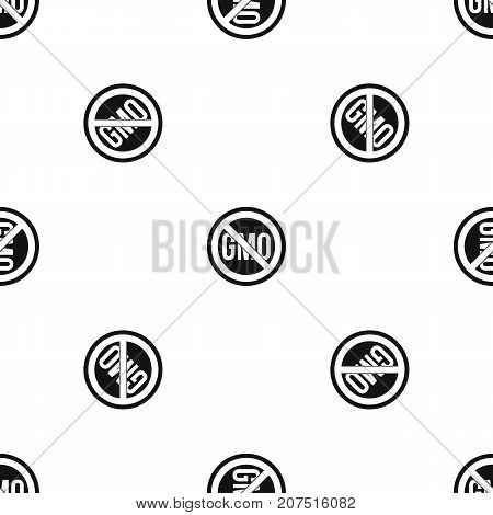 Stop GMO pattern repeat seamless in black color for any design. Vector geometric illustration