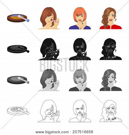 Powder and blush, lipstick, applying make-up on the face. Makeup and care set collection icons in cartoon black monochrome outline style vector symbol stock illustration .