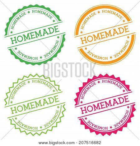 Homemade Badge Isolated On White Background. Flat Style Round Label With Text. Circular Emblem Vecto