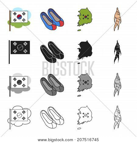 Food, travel, tourism and other  icon in cartoon style.Ginger, plants, seasoning, icons in set collection