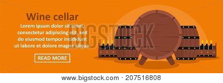 Wine cellar banner horizontal concept. Flat illustration of wine cellar banner horizontal vector concept for web design