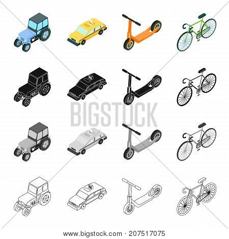 Agricultural tractor, urban transport bicycle, car, children's scooter. Transport set collection icons in cartoon black monochrome outline style vector symbol stock illustration isometric .