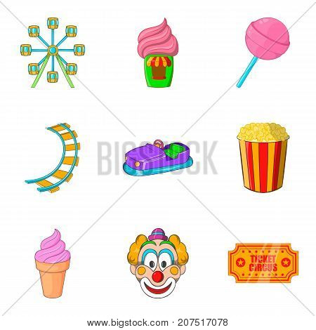 Entertainment for the youngest icons set. Cartoon set of 9 entertainment for the youngest vector icons for web isolated on white background