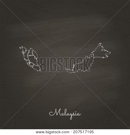Malaysia Region Map: Hand Drawn With White Chalk On School Blackboard Texture. Detailed Map Of Malay