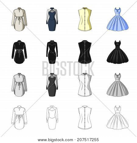 Women's robe, evening dress, vest clothing, ball gown. Women's clothing set collection icons in cartoon black monochrome outline style vector symbol stock illustration .