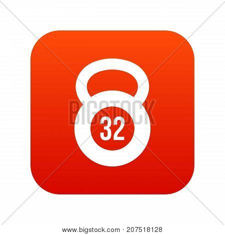 Kettlebell 32 kg icon digital red for any design isolated on white vector illustration