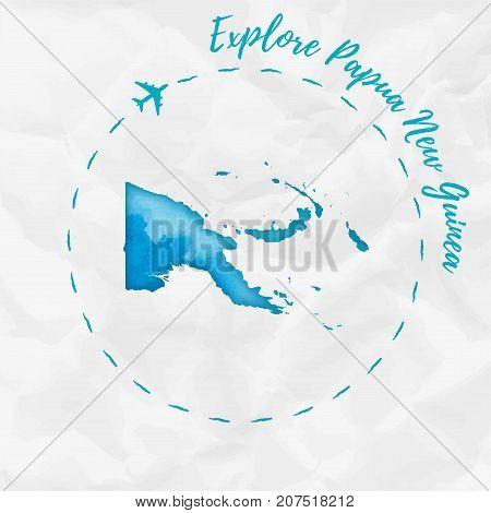 Papua New Guinea Watercolor Map In Turquoise Colors. Explore Papua New Guinea Poster With Airplane T