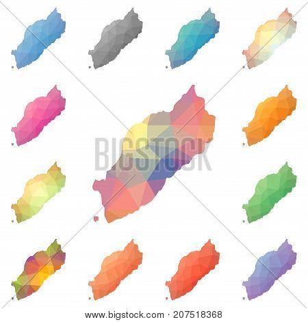 Itsukushima Geometric Polygonal, Mosaic Style Island Maps Collection. Bright Abstract Tessellation,