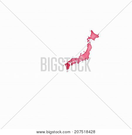 Japan Watercolor Map In Red Colors. Visit Japan Poster With Airplane Trace And Handpainted Watercolo