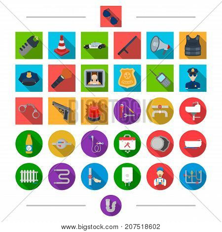 Equipment, , parts, material and other  icon in cartoon style. Crime, security, attributes icons in set collection