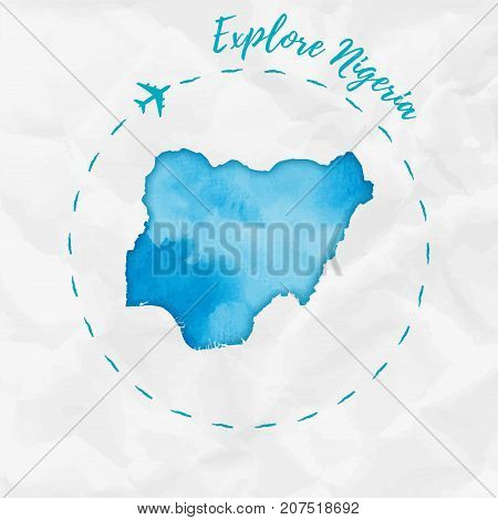 Nigeria Watercolor Map In Turquoise Colors. Explore Nigeria Poster With Airplane Trace And Handpaint