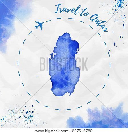 Qatar Watercolor Map In Blue Colors. Travel To Qatar Poster With Airplane Trace And Handpainted Wate