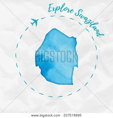 Swaziland Watercolor Map In Turquoise Colors. Explore Swaziland Poster With Airplane Trace And Handp