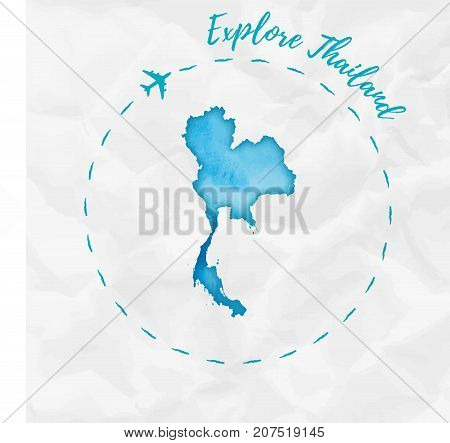 Thailand Watercolor Map In Turquoise Colors. Explore Thailand Poster With Airplane Trace And Handpai