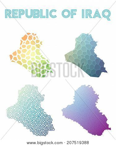 Republic Of Iraq Polygonal Map. Mosaic Style Maps Collection. Bright Abstract Tessellation, Geometri