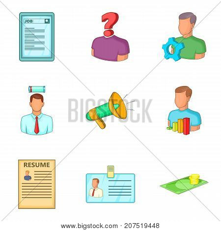 Team leader icons set. Cartoon set of 9 team leader vector icons for web isolated on white background