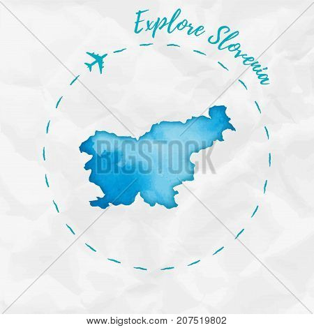 Slovenia Watercolor Map In Turquoise Colors. Explore Slovenia Poster With Airplane Trace And Handpai