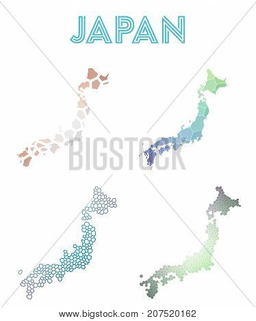 Japan Polygonal Map. Mosaic Style Maps Collection. Bright Abstract Tessellation, Geometric, Low Poly