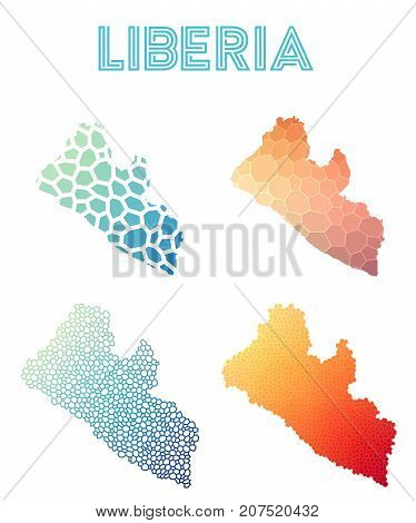 Liberia Polygonal Map. Mosaic Style Maps Collection. Bright Abstract Tessellation, Geometric, Low Po