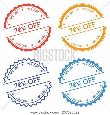 70% Off Badge Isolated On White Background. Flat Style Round Label With Text. Circular Emblem Vector