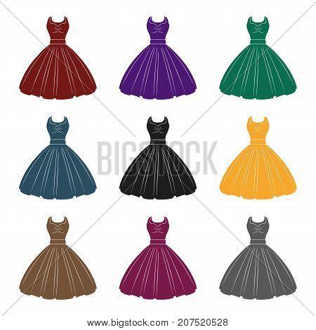 White fluffy wedding dress for a girl. Wedding wear.Women clothing single icon in black style vector symbol stock web illustration.