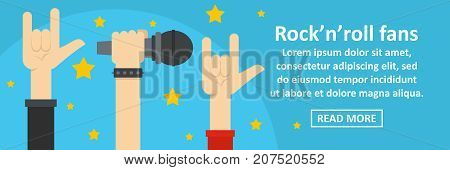 Rock n roll fans banner horizontal concept. Flat illustration of rock n roll fans banner horizontal vector concept for web design