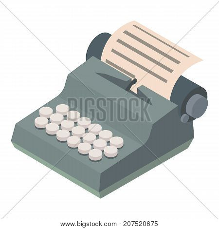 Typewriter icon. Isometric illustration of typewriter icon for web