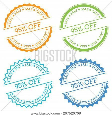 95% Off Sale Badge Isolated On White Background. Flat Style Round Label With Text. Circular Emblem V