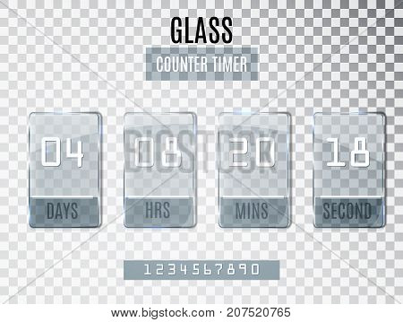 Glass Counter Timer Isolated On Transparent Background. Template Of The Beginning End Date Of Discou