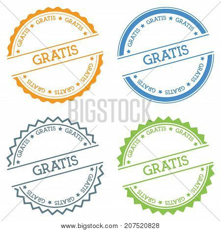 Gratis Badge Isolated On White Background. Flat Style Round Label With Text. Circular Emblem Vector