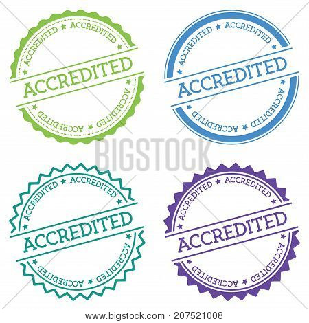 Accredited Badge Isolated On White Background. Flat Style Round Label With Text. Circular Emblem Vec
