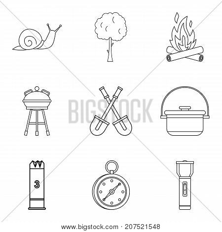 Backyard icons set. Outline set of 9 backyard vector icons for web isolated on white background