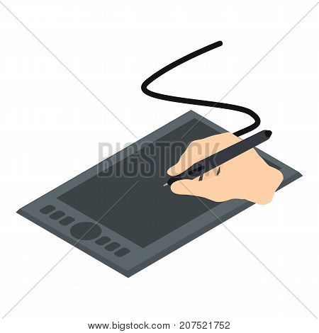 Graphics tablet icon. Isometric illustration of graphics tablet icon for web