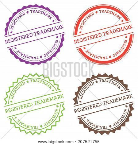 Registered Trademark Badge Isolated On White Background. Flat Style Round Label With Text. Circular