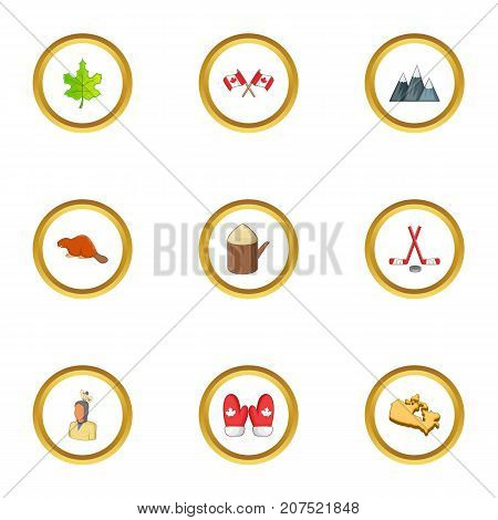 Canada icons set. cartoon style set of 9 canada vector icons for web design
