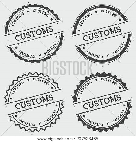 Customs Insignia Stamp Isolated On White Background. Grunge Round Hipster Seal With Text, Ink Textur