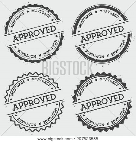 Approved Mortgage Insignia Stamp Isolated On White Background. Grunge Round Hipster Seal With Text,