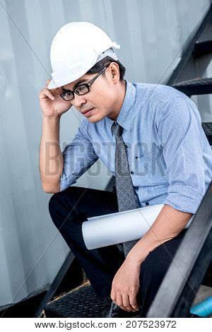Engineer serious and pressured with unsuccessful project fail