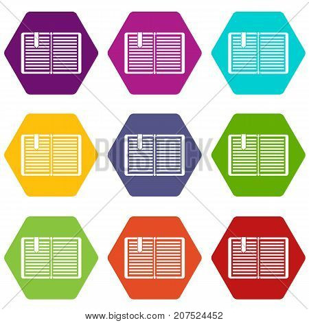 Open book with red bookmark icon set many color hexahedron isolated on white vector illustration