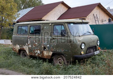Yoshkar-Ola, Russia - October 5, 2017 Photo of old UAZ minibus on the street in Yoshkar-Ola, Russia
