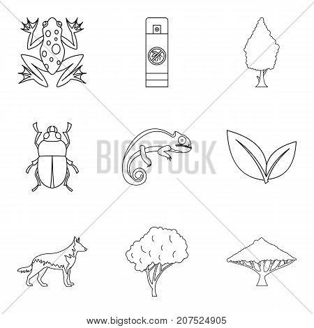 Parasite icons set. Outline set of 9 parasite vector icons for web isolated on white background
