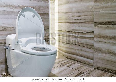 Modern design home bathroom White sanitary ware or toilet bowl in the bathroom poster
