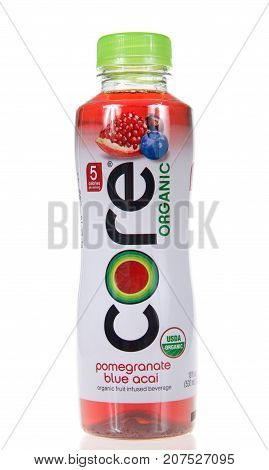 Alameda CA - October 04 2017: One bottle of pomegranate blue acai flavored water. CORE Organic is a USDA Certified Organic fruit infused beverage with antioxidants and only 5 calories per serving.