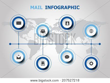 Infographic design with mail icons, stock vector