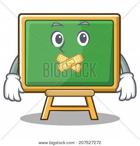 Silent chalk board character cartoon vector illustration