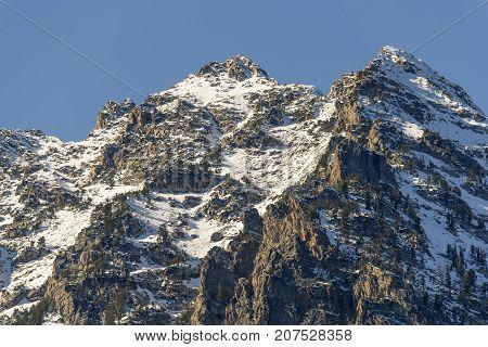 Grand Teton Mountain close up on Grand Tetons National Park