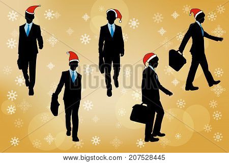 silhouette of busines man with merry christmas